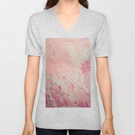 Fluid Art Acrylic Painting, Pour 2 - Light Pink, Magenta & White Blended Color Unisex V-Neck