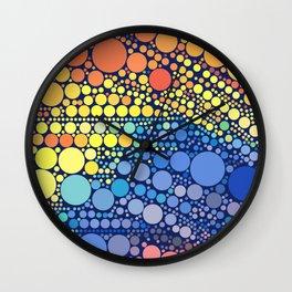 Sun Wave Multicolor Circles Pattern Wall Clock