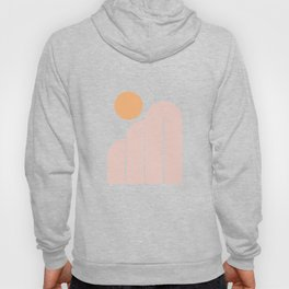 Mid Century Modern Geometric 41 in Coral Shades (Rainbow and Sunrise Abstraction) Hoody