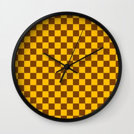 Amber Orange and Chocolate Brown Checkerboard Wall Clock