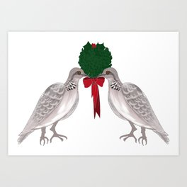12 Days of Christmas Two Turtle Doves Art Print