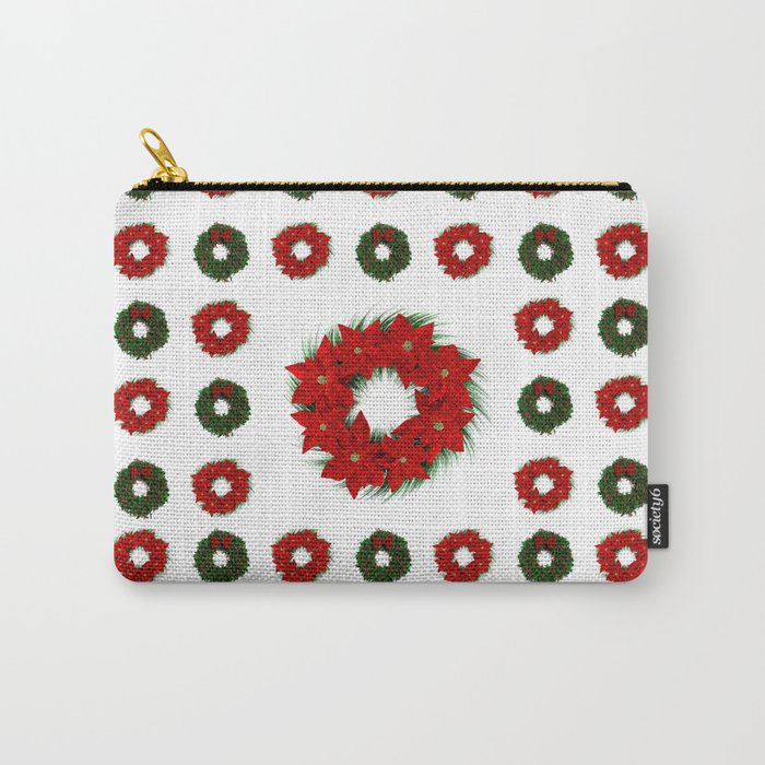 Christmas Wreath Pattern Carry-All Pouch