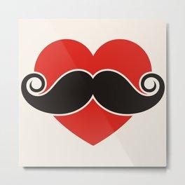 Love. Mustache. Metal Print