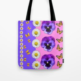 PINK-LILAC & PURPLE PANSY DAISY SPRING FLOWERS Tote Bag