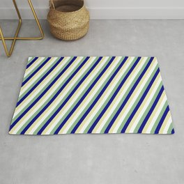 Dark Sea Green, Blue, Pale Goldenrod & White Colored Striped/Lined Pattern Rug