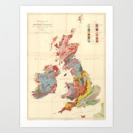 Vintage Geological Map of The British Isles (1912) Art Print