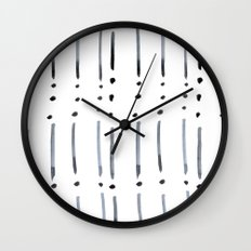black and white dots and dashes boho modern Wall Clock