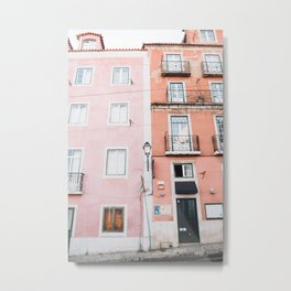 Pink and Orange Houses in Alfama in Lisbon, Portugal | Travel Photography | Metal Print