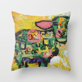 Squares and Sheep Throw Pillow