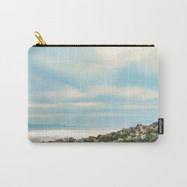 European Sunset | Colorful Costal Clouds Skyline Charming Ocean Town Baby Blue Yellow Tones Carry-All Pouch