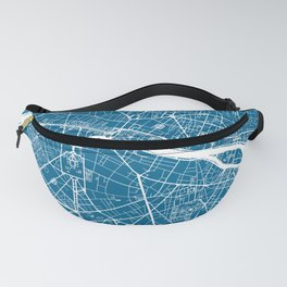 Blue City Map of Paris, France Fanny Pack