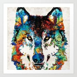 Wolf Art Print - Hungry - By Sharon Cummings Art Print