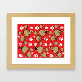 Dumpling Cat Red pattern Framed Art Print