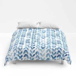 Blue Chevron Watercolour Comforters