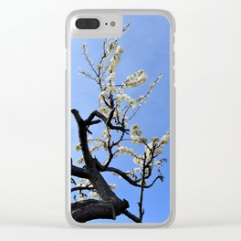 Crooked White Blossoms Clear iPhone Case