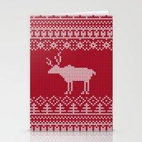 reindeer Stationery Cards featuring  Reindeer by Julia Badeeva