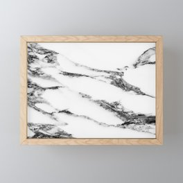 White Marble Design Framed Mini Art Print