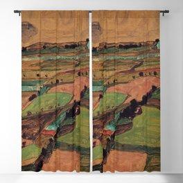 Rolling Plains at Harvest on the tartan hillsides landscape painting by Egon Schiele Blackout Curtain