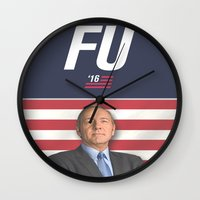 house of cards Wall Clocks featuring House of Cards / Campaign Poster I by Earl of Grey
