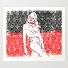 Female with Patterns Art Print