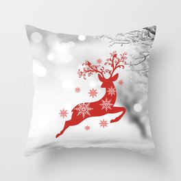 Vintage deers. Merry Christmas! Throw Pillow