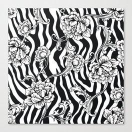 Zebra Flowers pattern Canvas Print