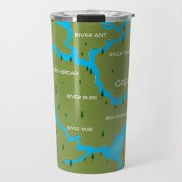 Norfolk Broads England navigation map. Travel Mug