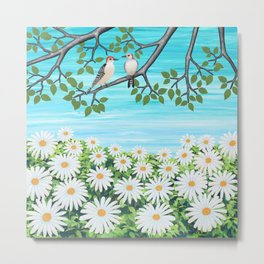 red bellied woodpeckers and daisies Metal Print