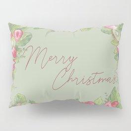 Watercolour Christmas Fruit Wreath on Green Pillow Sham
