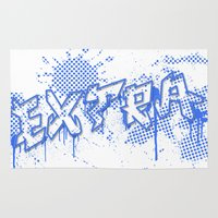 grafitti Area & Throw Rugs featuring extra splash blue grafitti design by sleepwalkerMTS
