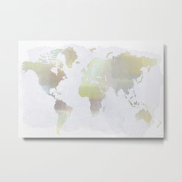 Watercolored World Map Metal Print