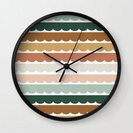 Ombré Scallop Stripes   Retro Lines   Earthy Vintage Stripes Wall Clock