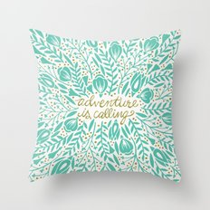 Adventure is Calling – Turquoise & Gold Palette Throw Pillow