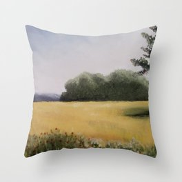 Autumn Field - Original Painting by Tracy Sayers Trombetta - Shades of Monet Throw Pillow