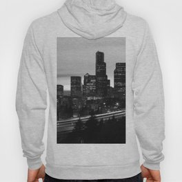 Seattle Skyline Sunset City - Black and White Hoody