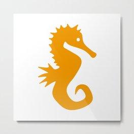 Seahorse (Orange & White) Metal Print