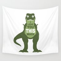 humor Wall Tapestries featuring Amourosaurus by David Olenick