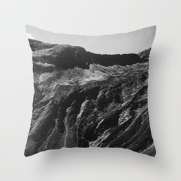 Swiss Alpine Mountains in Black and White Throw Pillow
