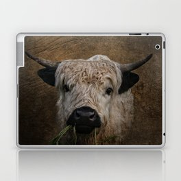 White High Park Cattle Chewing Grass Laptop & iPad Skin