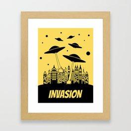 Retro Style Alien Invasion  Framed Art Print