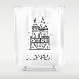 Budapest Hungary Black and White Shower Curtain
