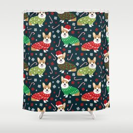 Corgi christmas sweater ugly sweater party with welsh corgis dog lovers dream christmas Shower Curtain