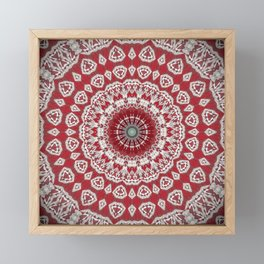 Red White Bohemian Mandala Design Framed Mini Art Print