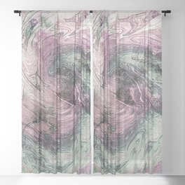 Muted Grapes Ocean Ink Fluid Sheer Curtain