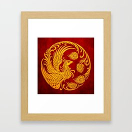 Traditional Yellow and Red Chinese Phoenix Circle Framed Art Print