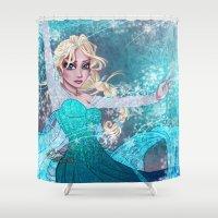 frozen elsa Shower Curtains featuring Frozen Elsa by Teo Hoble