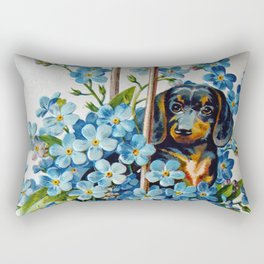 Dachshund and Forget-Me-Nots Rectangular Pillow