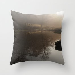 Foggy Morning in the Forest Throw Pillow