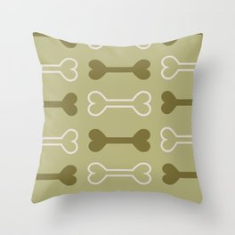 Bone surface pattern (green) Throw Pillow