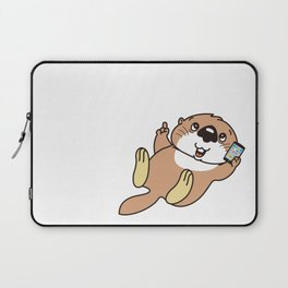 a sea otter with a smartphone Laptop Sleeve
